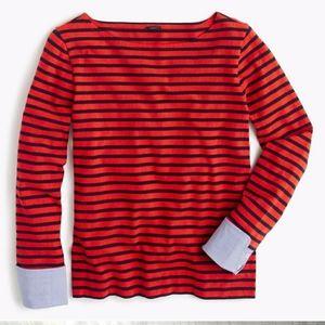 Jcrew boat neck striped denim cuff
